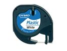Tape Dymo Letra Tag 91201 12mm zwart/wit