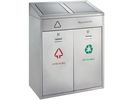 Afvalbak outdoor recycling 2x21L mat rvs