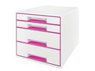 Leitz WOW desk cube 4D wit/roze