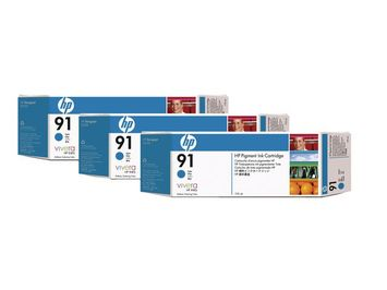 3-PACK HP 91 CYAAN/PK3
